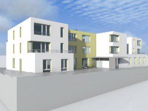 So wird es aussehen: Aus Richtung Brackweder Straße sieht das Gebäude mit seiner weiß-gelben Metallfassade und dem Flachdach so aus. Das Pflege-Hotel befindet sich im Untergeschoss.